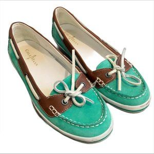 Cole Haan patent leather mint chocolate boat shoes